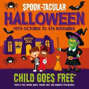 Free Child Entry to Bristol Zoo with every Adult ticket this Halloween 20th October to 4th November with code online