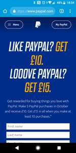 £10 cashback from PayPal after 5 purchases in Oct / £15 after 10 (Email Invite)