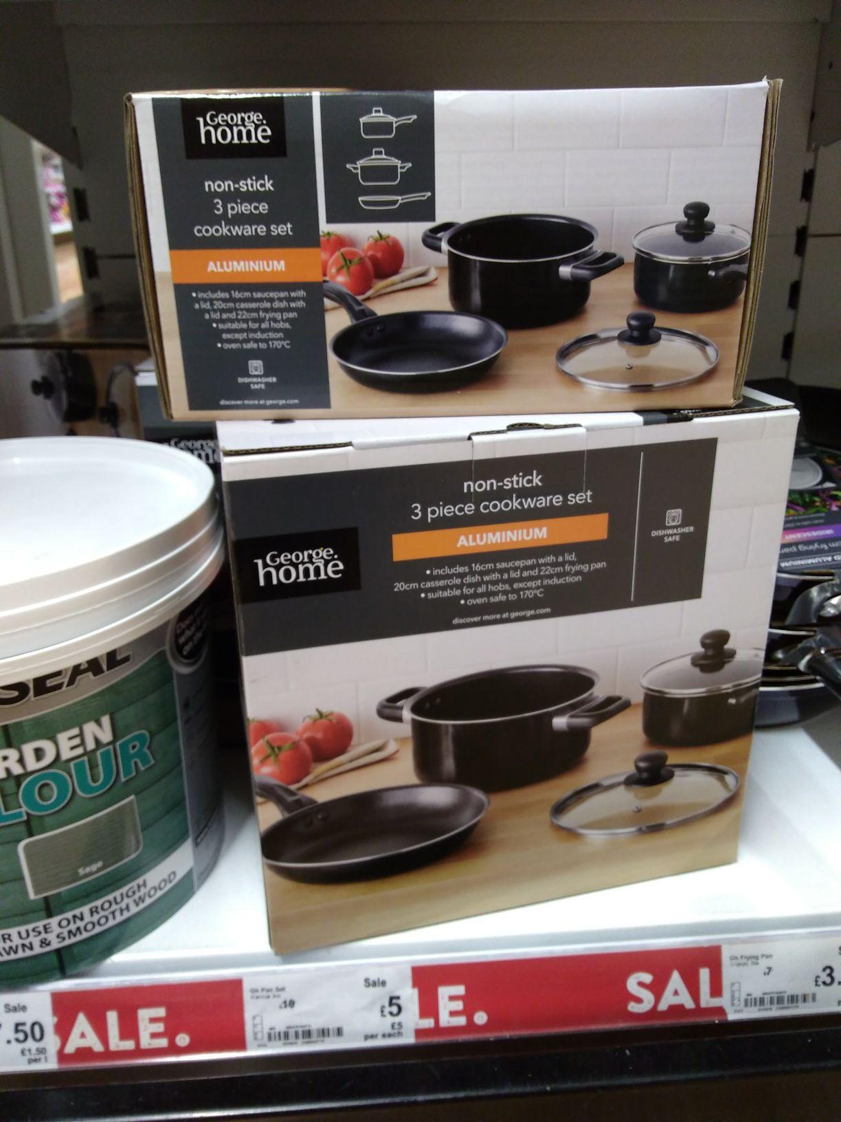 George Home 3-piece Aluminium Oven Safe Cookware Set was £10 now £5 @ Asda