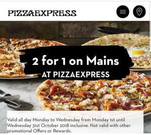 2 for 1 on Mains at Pizza Express