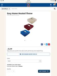 Aldi easy home heated throw blanket £34.99 - free delivery