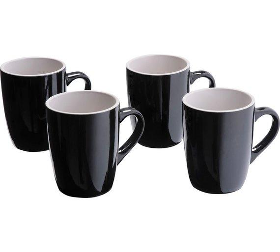 ColourMatch Set of 4 Stoneware Mugs - Jet Black for £3.99 Free C&C @Argos