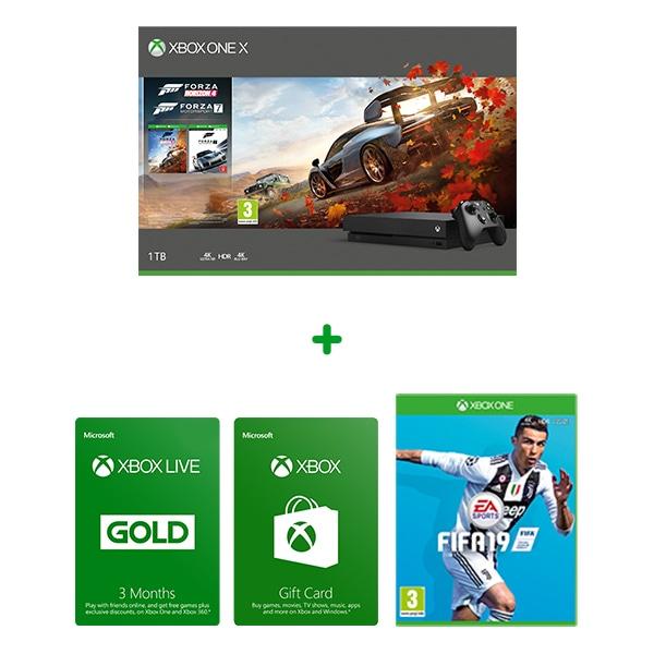 Xbox One X 1TB Console - Forza Bundle + FIFA 19 + 3m Xbox Live Gold + £10 Xbox Gift Card @ Smyths Toys £399.99