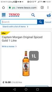 Captain Morgan Original Spiced rum 1L - £16 Tesco