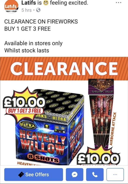 Buy one get three free fireworks from Latifs Birmingham - £10