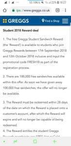 """FREE Hot or Cold Sandwich from GREGGS for """"students"""""""