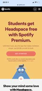 Students! Get Headspace free with your Spotify subscription! £4.99/Month
