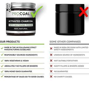 Activated Charcoal Teeth Whitening Powder £6 (Prime) / £10.49 (non Prime) Sold by Procoal and Fulfilled by Amazon.