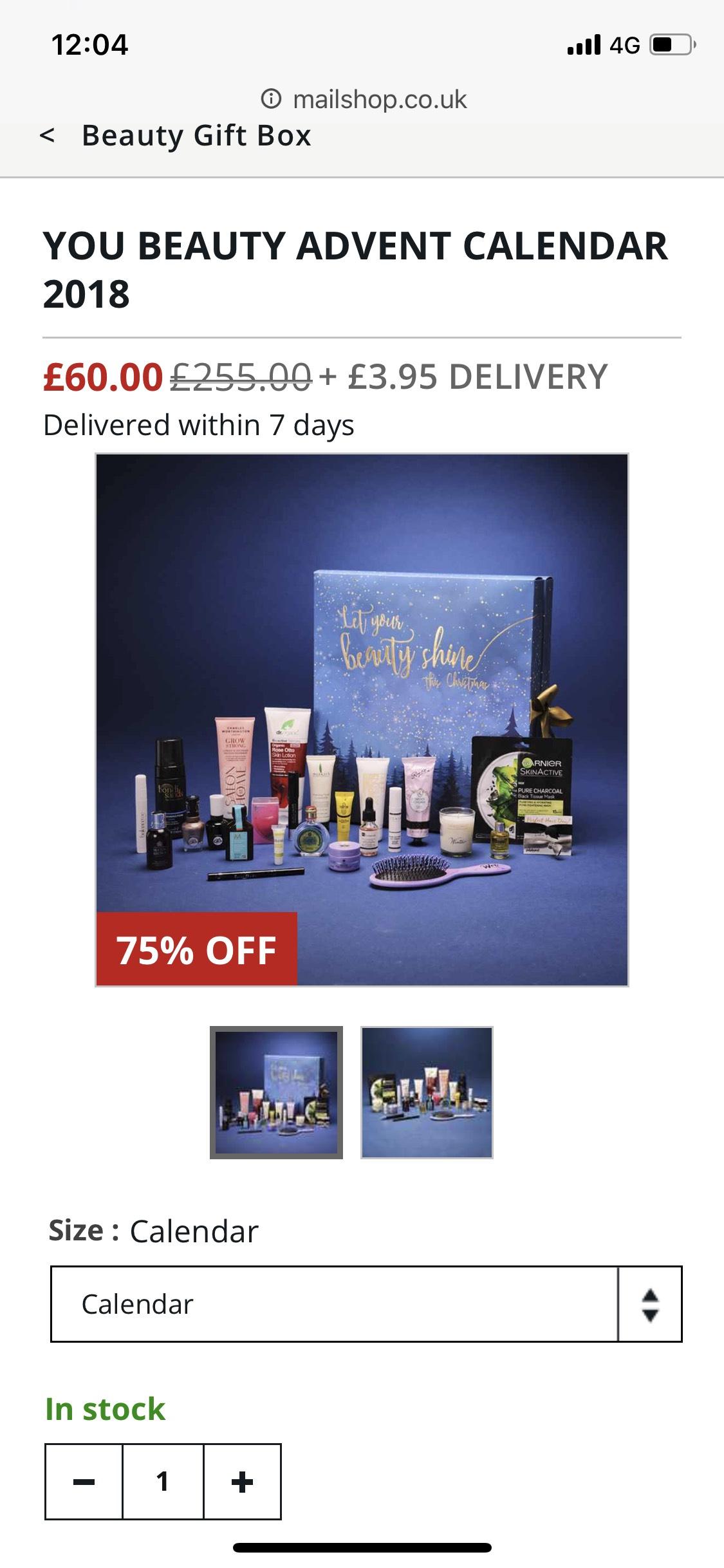 Beauty advent calendar £60 / £63.95 delivered @ Mail shop