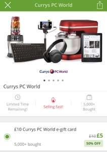 £10 Currys PC World E-Gift Card  for £5 at Groupon (invitiation / selected accounts)