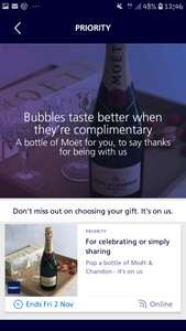 FREE bottle Moet for seleted long term customers O2 Priority