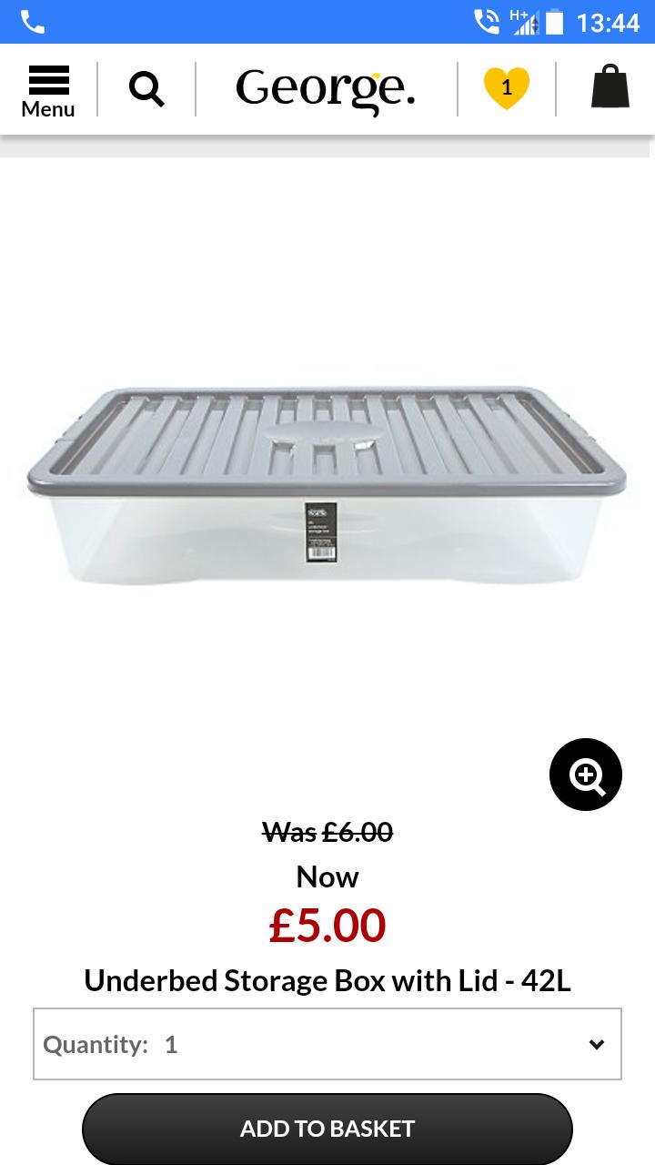 42l underbed storage with lid £5 Asda - free c&c