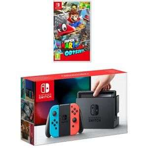 Nintendo Switch Neon Blue / Red console & Super Mario Odyssey game £287.10 with code @ AO eBay