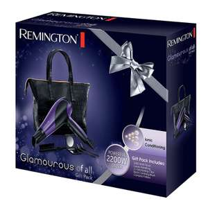 Remington Glamourous 2200w purple hair dryer gift set with bag, mirror, brush & clips £23.24 delivered with code @ Hughes