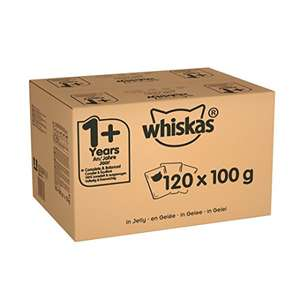 WHISKAS 1+ Cat Pouches Mixed Selection in Jelly, 120 x 100 g Mega Pack £21.99 @ Amazon