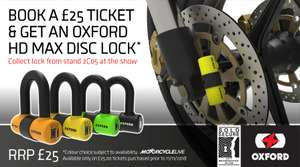 FOR BIKERS ONLY Motorcycle Live 2018 Ticket 17-25 Nov + Free Oxford HD MAX Disc Lock £25 @ The ticket factory