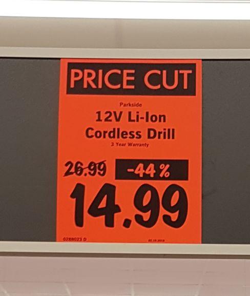 Parkside 12v Li-ion cordless drill/screwdriver £14.99 at Lidl
