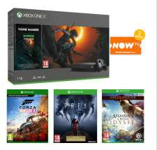 2 XBOX ONE X DEALS / 1TB XBOX ONE X + SHADOW OF THE TOMB RAIDER, FORZA H 4, Prey, Assassins Creed Odyssey Omega Edition + NOW TV / 1TB XBOX ONE X, FORZA H 4, FORZA 7, Fifa 19, Prey, Assassins Creed Odyssey Omega Edition. NOW TV £439.99 @ GAME