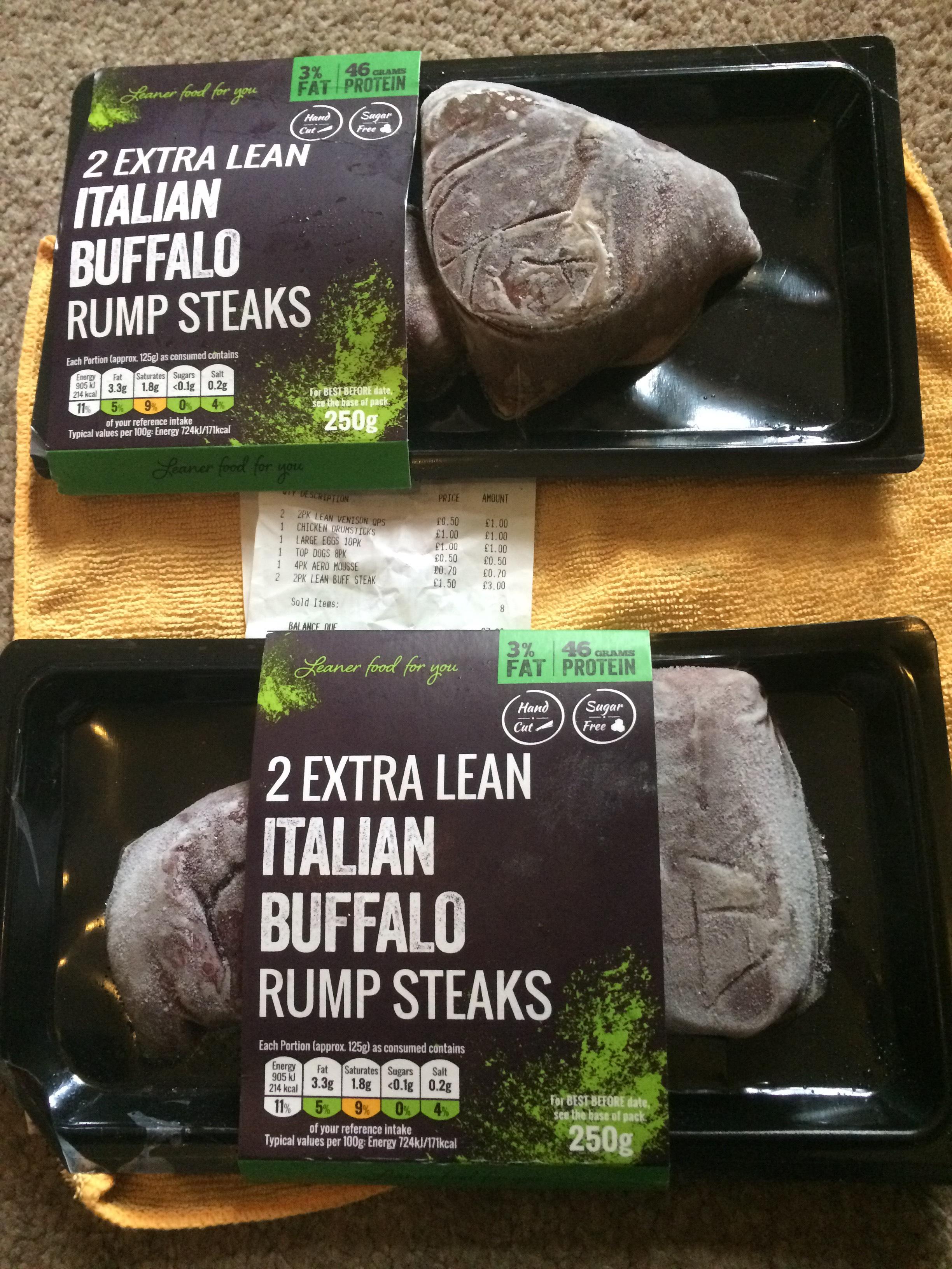 Italian Rump Buffalo steaks  down from £5 to £1.50 Iceland
