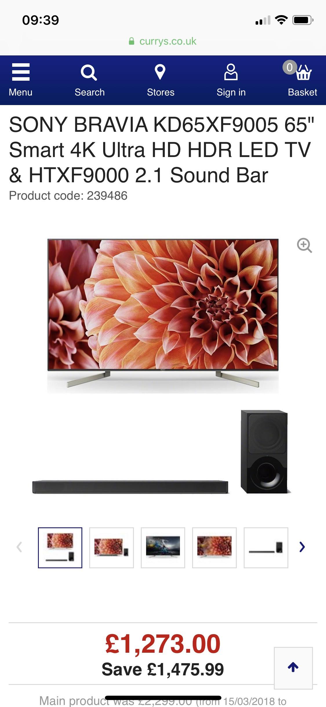 """SONY BRAVIA KD65XF9005 65"""" Smart 4K Ultra HD HDR LED TV & HTXF9000 2.1 Sound Bar £1273 Currys"""