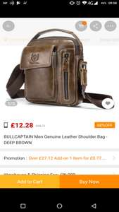 Bullcaptain men's genuine leather shoulder bag £12.28 @ Gearbest App