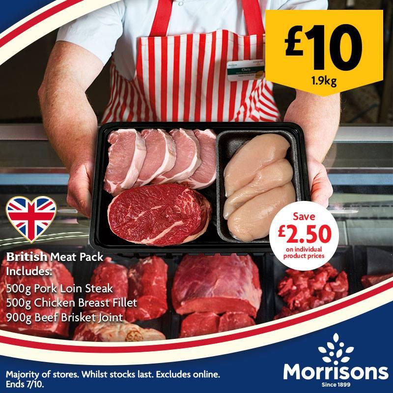 Morrisons meat pack British Chicken Fillet, 500g British Pork Loin Steak and 900g British Beef Brisket  £10