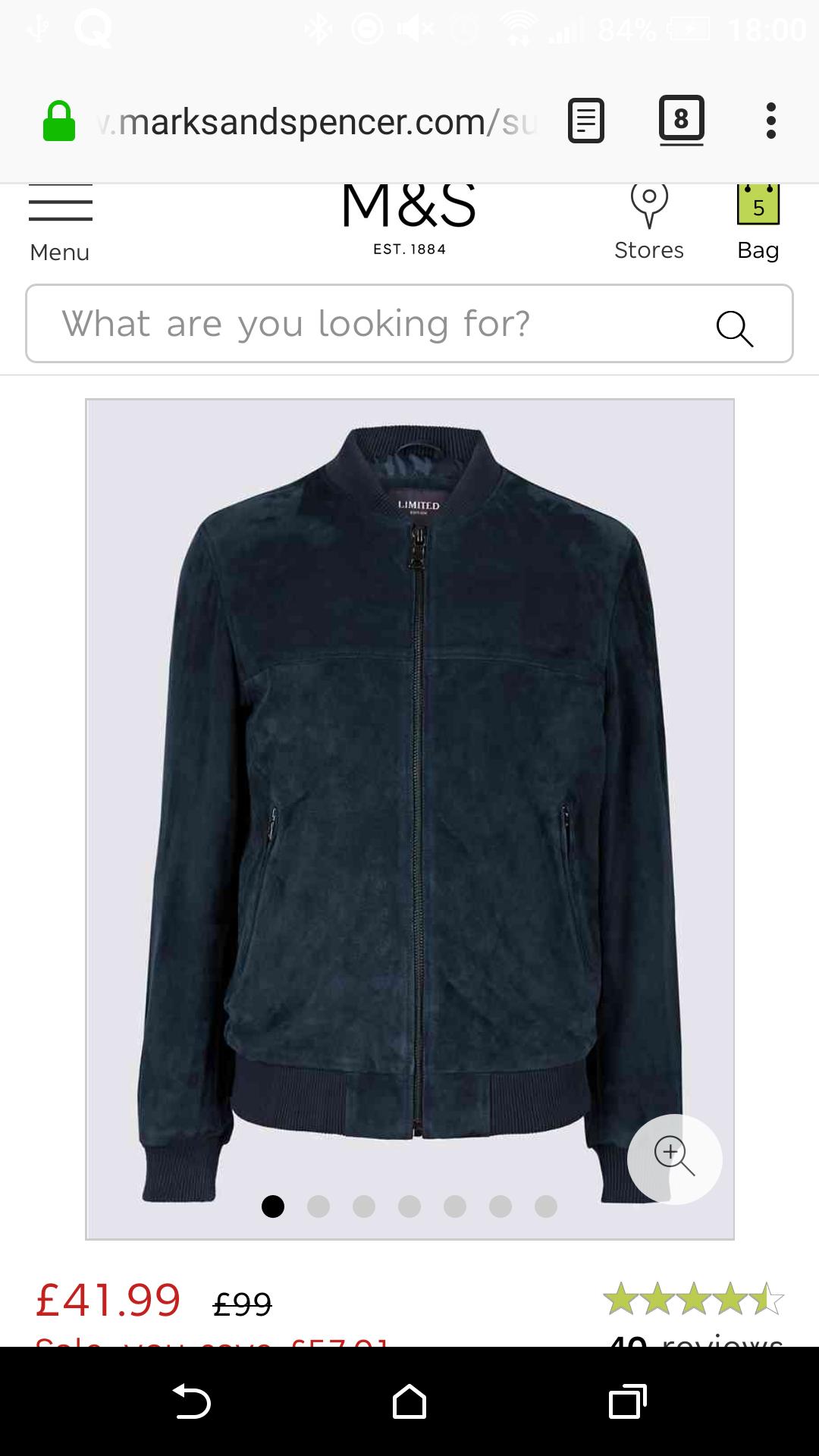 Limited Edition Suede Bomber Jacket - £41.99 @ Marks & Spencer
