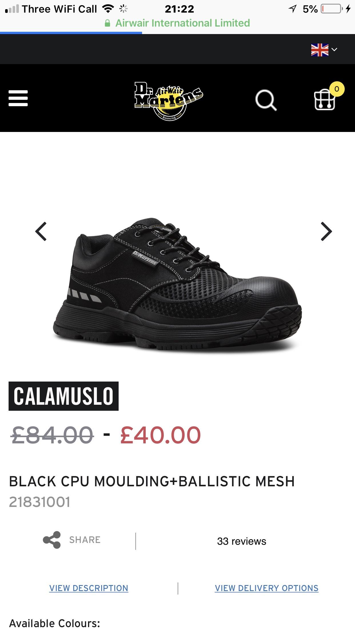 Dr martens BLACK CPU MOULDING+BALLISTIC - £40 @ Dr Martens (+£3.95 P&P)