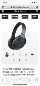 Sony WH-1000XM2 Refurbished £179 @ Centres Direct