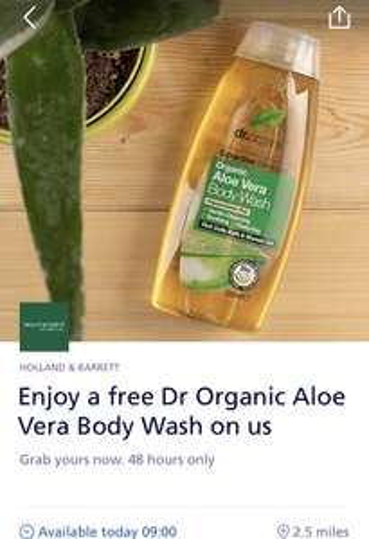 Free Dr Organic Aloe Vera Body Wash @ Holland & Barrett via O2 Priority