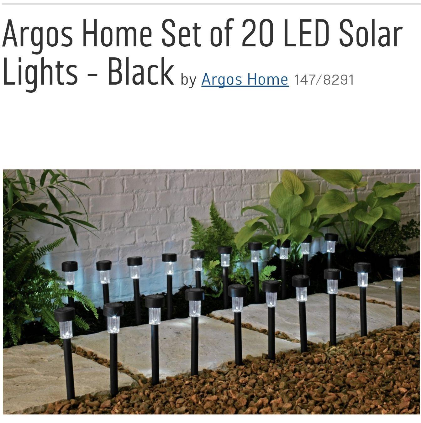Argos Home Set of 20 Pack LED Solar Lights  - Black £10.99 - Good reviews, 55p/light