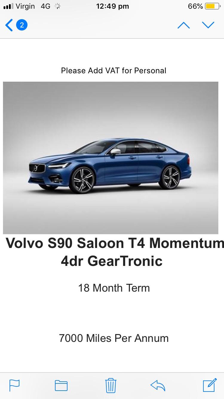 Volvo S90 Saloon T4 Momentum 4dr 7000 miles per yr initial rental - £2500 £69.99 p/m(+vat) - £4511.78 (inc vat) central vehicle Leasing deal