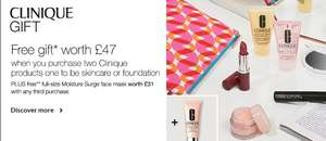 Glitch - Add a clinique product to basket to get a free clinique set (£47), but add another item, and it adds another gift set @ Debenhams
