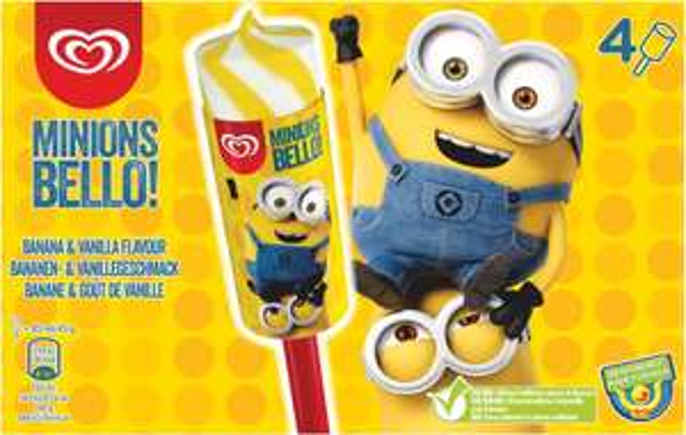 Wall's Minions Bello! Banana & Vanilla Flavour Ice Cream 4 x 85ml 80p @ Heron Foods.