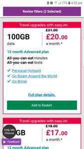 Three Sim Only offers: 100Gb Data All you can eat Mins and Text Go roam 27 countries Go binge £20pm 12 months - £240