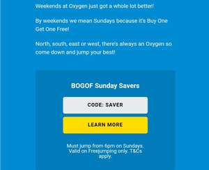 Oxygen jumping 2 for 1 Every Sunday Trampoline/Oxygen Jump Arena Park £9.50