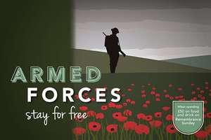 Hallmark Hotels Welcomes Armed Forces a Free Room On Armistice Day for Two people when spending £25 each on Food & Drink