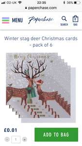 Online 1p for Pack Paperchase Christmas cards (instore)