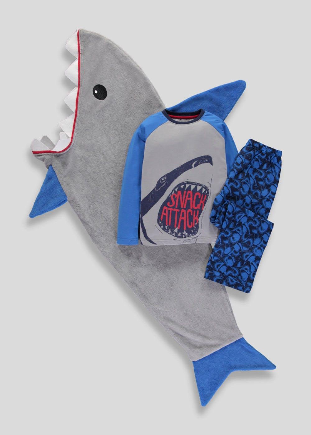 3 Piece Shark Pyjamas & Blanket Set  (4-13yrs) £14 / Christmas Pudding Pet Bed £16.00 C&C @ Matalan (more in post)