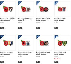 Football crest poppy badges £2.99 / £6.98 delivered  - 2018 stock at Poppyshop