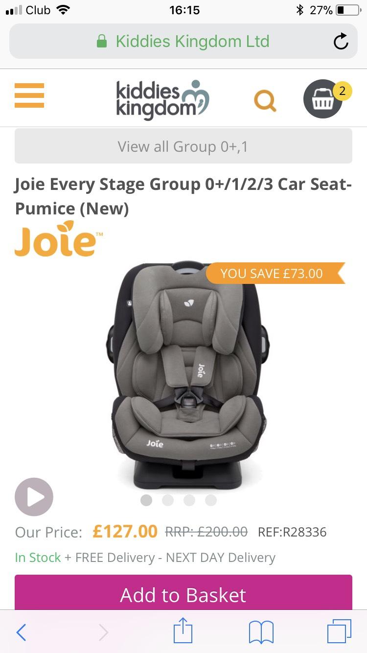 Joie Every Stage Group 0+/1/2/3 Car Seat-Pumice (New) £127 @ Kiddies kingdom