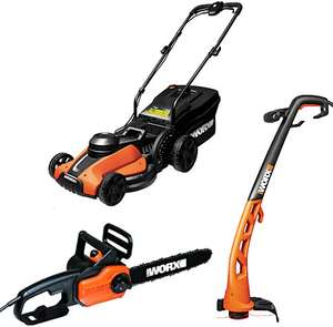 Worx 1100W Electric Chainsaw W/ Worx 1400W Lawnmower & Matching 250W Trimmer £92.65 W/ Code OCT18 @ Wickes (Free C&C Only)