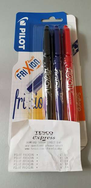 Pilot Frixion Erasable Pens 3pk for £1.84 / Sharpie Markers and Staedtler Highlighters (both 4pk) for £1.31 each @ Tesco Express Romford