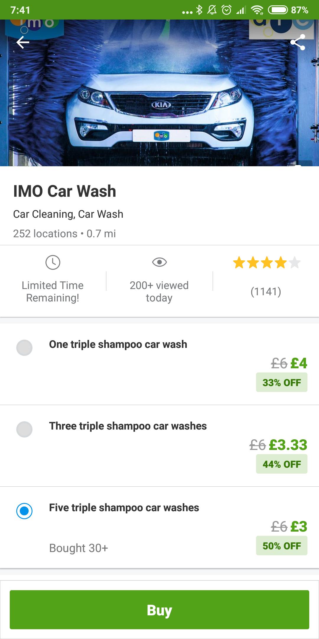 IMO Car Wash Five triple shampoo car washes £3 Groupon Car Wash Glitch (poss £2.55 w/code)