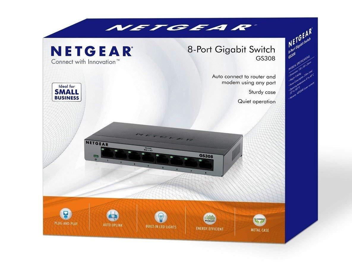 NETGEAR GS308-100UKS 8 Port Gigabit Ethernet Desktop/Wallmount Metal Switch £15.99 (Prime) / £20.48 (non Prime) @ Amazon