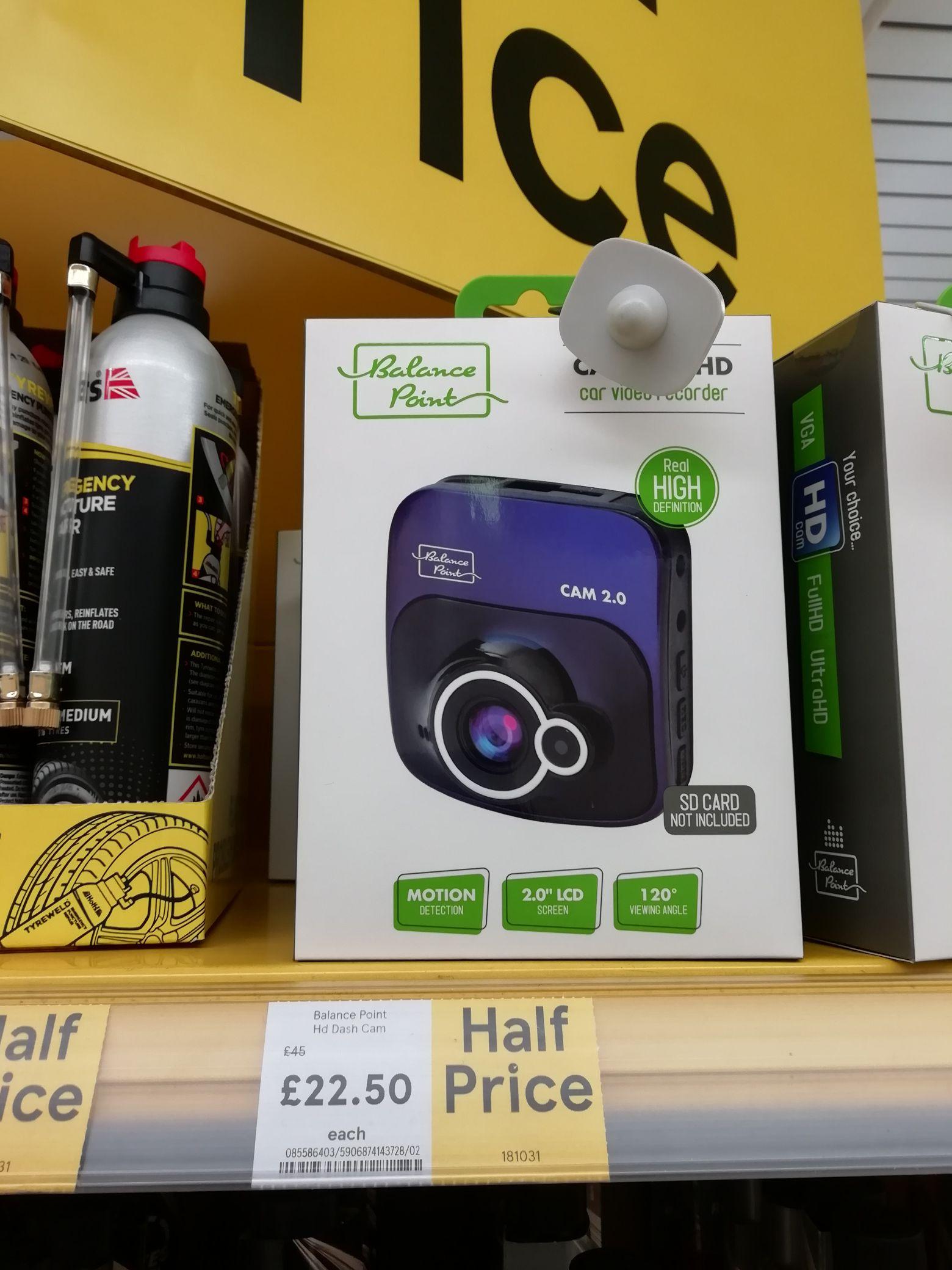 Balance Point  HD Dashcam  half price £22.50 instore at Tesco