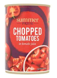 Summer Pride chopped tinned  tomatoes, 400g, 40p each or 4 for a £1 @ Tesco
