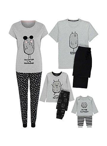 Monster Mini Me Christmas Pyjamas Set For all the family - from £5 @ asda
