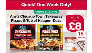 Two Chicago takeaway pizza and tub of Häagen Dazs for £8 @ Iceland