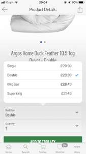 Argos Duck Feather 10.5 tog king size duvet (other sizes and 13.5 tog on offer) £28.49